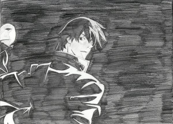 Hei of 'Darker than Black,' created by Tensai Okamura; original animation by Bones; drawing by Sunnie LaPan