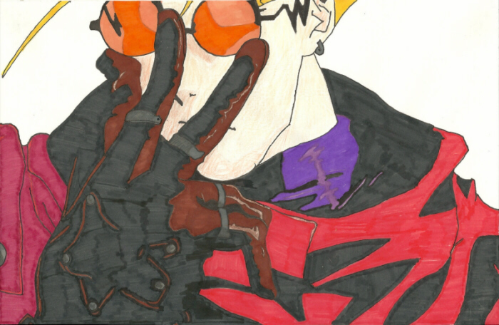 Vash the Stampede of 'Trigun'; original artist/creator Yasuhiro Nightow; drawing by Sunnie LaPan