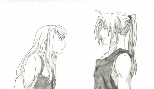 "Winry and Ed of ""Fullmetal Alchemist"" original by Hiromu Arakawa; drawing by Sunnie LaPan"